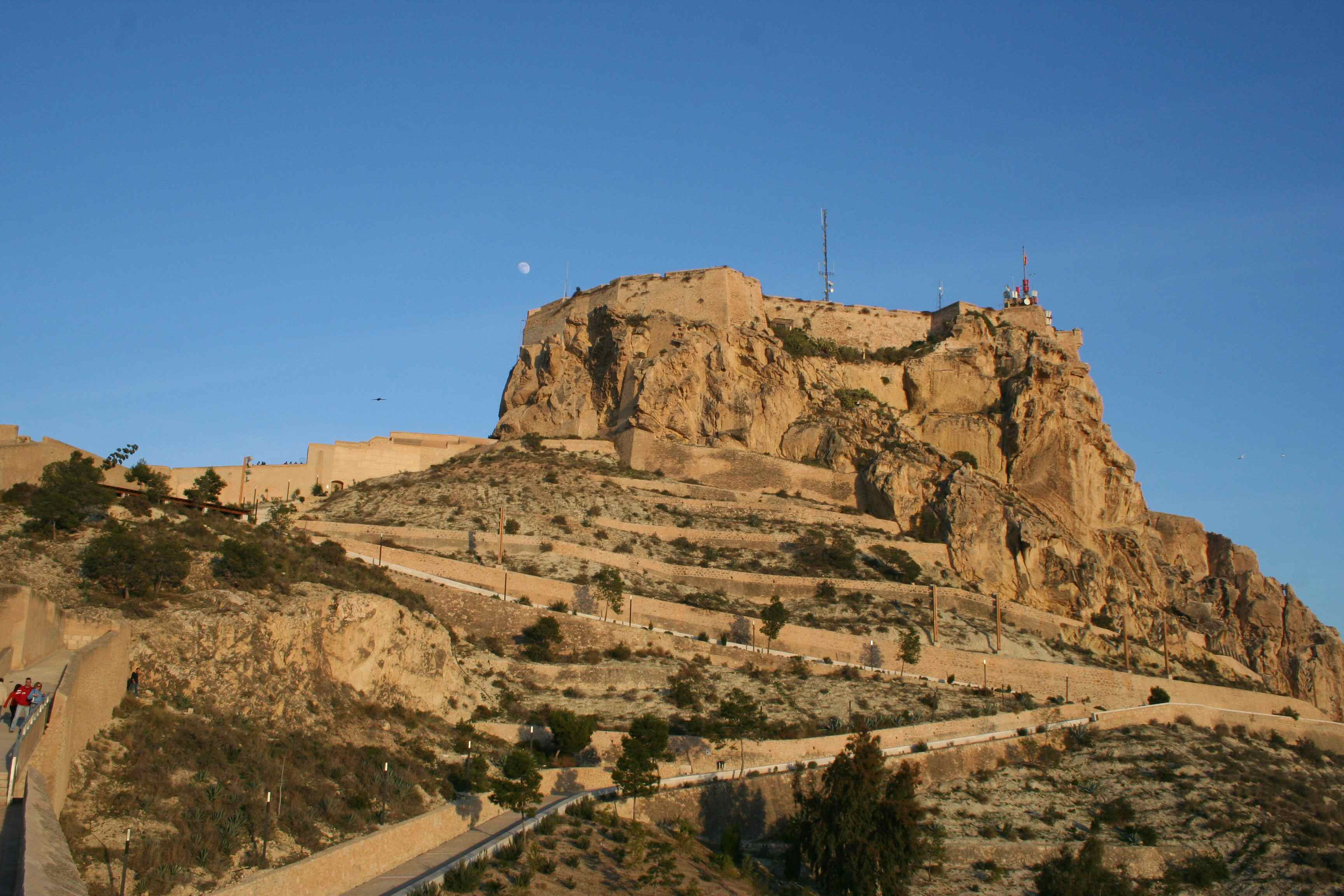 Castle in Alicante viewed from the Barrio (Old Town)